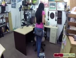 Busty Brunette teen gets fucked hard by the pawnshop owner