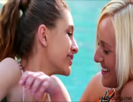 Swimming turns into a hot lesbian fun with Rebel and Kate